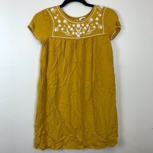 XS Old Navy Yellow White Floral Embroidered Dress